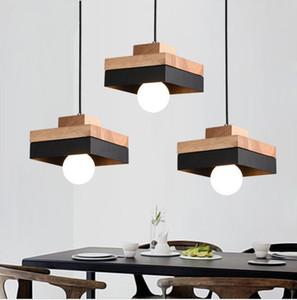 Pendant Led Nordic rotonda lampada Piazza moderna in legno Metallo Ferro Hanging Lampade Sospensione illuminazione Cafe Bar Restaurant-I29