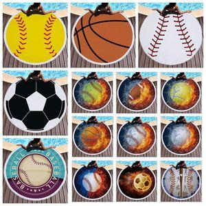 27 stili Asciugamano Baseball Softabll Basket Calcio Sport Spiaggia con la nappa rotonda Teli Unisex Summer Beach Mats CCA11399-A 10pcs