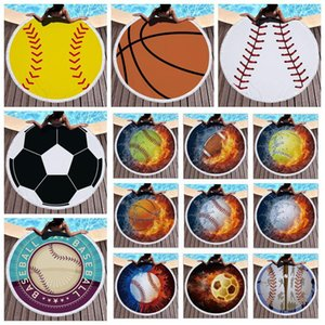 27 Styles Toalha Baseball Softabll Basketball Football Sports Praia com 10pcs Tassel Rodada Toalhas de praia Unisex Praia Verão Mats CCA11399-A