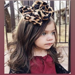 New Europe Baby Girls Big Bow Headband Kids Elastic Bowknot Hairband Children Bandanas Leopard Head Band Hair Accessory 14947