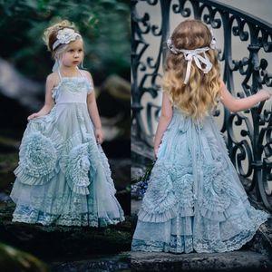 2020 New Halter Dollcake Flower Girl Dresses Occasioni speciali per matrimoni Increspato Lunghezza del pavimento Abiti da comunione in pizzo per bambino