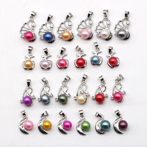 100 стилей посеребренные Жемчужный кулон монтируется кулон ожерелье с пресноводной цветной жемчуг ювелирные изделия для женщин