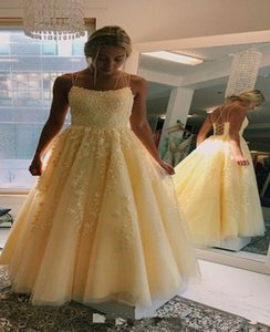 Unique Open Back Design Spaghetti Light Yellow Prom Dresses Lace Embroidery Draped Tulle Party Dress Elegant Evening Gowns Sweet 16 Dress