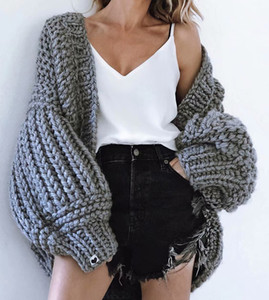 Удобный кардиган batswing рукав мягкая текстура полный рукав Вязание крючком свитер коренастый вязание комплект женский женщина свитера