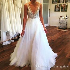Deep V Neck A Line Beach Wedding Dresses Sleeveless Simple Lace Applique Floor Length Bridal Wedding Gown Cheap Dresses Plus Size