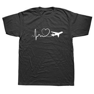 Funny Print Eat Sleep Travel Airplane Heartbeat Joke T-shirt Husband Casual Short Sleeve Cotton Streetwear Hip Hop T Shirts Men