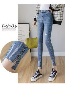 JinYiLai Deep Blue S Morality Stretch Feet Jeans Are Female