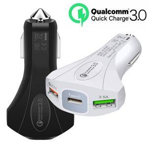Type c Chargeur de voiture Rapide Recharge rapide 7A 35W QC 3.0 Chargeurs de voiture Adaptateur Hammer Adaptateur 3 Ports pour Samsung téléphone Android