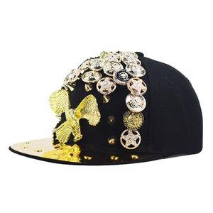 الاتجاه الجديد 2020 المعادن الثقيلة الذهب طائر الفينيق برشام الهيب هوب قبعة النسر الجمجمة لون الماس قبعة الحواف المسطحة