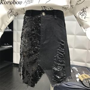 Korobov 2019 New Arrival Hole Denim Skirt Sexy Party A-Line Sequined Patchwork Skirts Tassel Irregular Femininos Vestido 76833