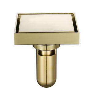 Латунь Плитка Вставка площади пола отходов Измельчение ванной душ Drain трапных Матовый Золотой Fltro Ducha Drain Невидимый волос
