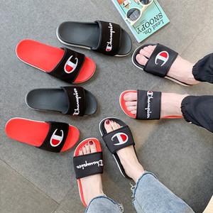 2 cores Mulheres Homens campeão Carta Sandália amantes sapatilhas deslizamento em falhanços Wedge Plataforma Sandálias da praia água da chuva sapatos DHL JY627