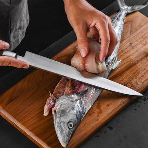 Japonês 11 polegadas Sashimi Faca Chef Sushi Kitchen Knives Alemanha 1 0,4116 Aço Salmon Peixe Slicing Cleaver faca afiada Yanagiba