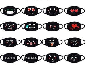 Lustiger Ausdruck Baumwolle Maske Antistaubverschmutzung Schutzgesichtsmasken Waschbar Wiederverwendbare für Erwachsene Kinder einzigartige Designs schwarz weiß