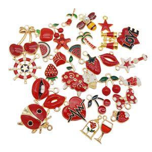 Джули Ван 10шт эмаль подвески случайные смешанные фрукты животные цветы сплав подвески ожерелье серьги ювелирные изделия аксессуары