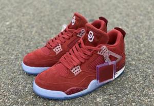 venta caliente mejor calidad 4s OU Oklahoma PE Diseñador hombre zapatos de baloncesto New Red Suede IV blancos rojos de la moda van Formadores