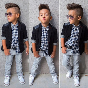 2020 Baby Boys Gentlemen suit coat+Plaid shirt+jeans 3 Pieces Clothing Sets Kids boutique clothes Children Outfits C479