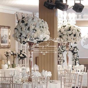 98CM Tabletop Vase Metal Wedding Flower Vase Home Table Metal Flowers Vases Wedding Decoration Gold Silver Color