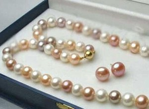 "Feine Perlen Schmuck 8-9mm Echt Weiß Rosa Lila Akoya-Zuchtperle 14K GP Schließe Halskette 18 """