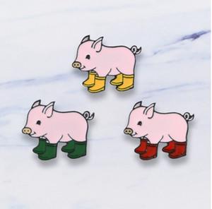 Ювелирные изделия Броши Булавки Прекрасный маленький розовый Pig отворотом Hat Pin Tie Tack Эмаль нагрудные Pin Брошь