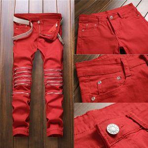 Hirigin Red Jeans Mode Hommes Pantalons Jeans Ripped motard classique Skinny Fausse Zip droite Denim Jeans Streetwear