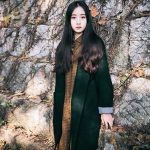 Autumn Winter Long Wool coat Solid color A buckle Fashion casual Elegant Vintage Long Overcoat Female Outerwear Windbreaker