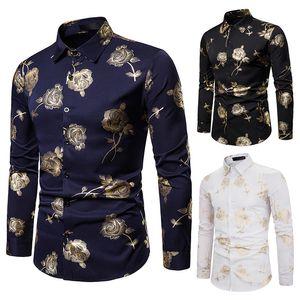 Camisa de vestir con estampado de bronceado floral dorado para hombres Party NightClub Tuxedo Shirt for Men 2019 Camisa Masculina J190789 de manga larga de invierno