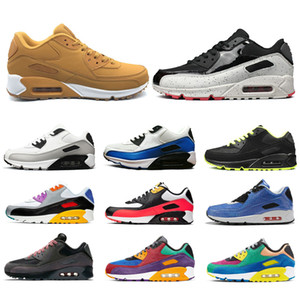 Nike Air Max 90 İNSAN YARI Pharrell Williams Trail Koşu Ayakkabıları Sarı Erkekler Kadınlar Için Nerd Siyah Beyaz Casual Spor Sneakers Boyutu 36-47 Toptan Online