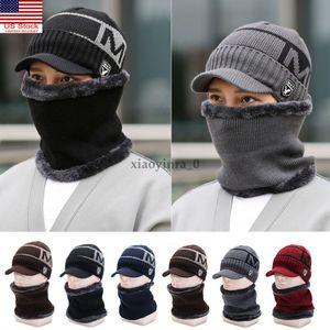 Winter Men Knitted Hat s Sports Knit Visor Beanie Fleece Lined Billed Brim Cap