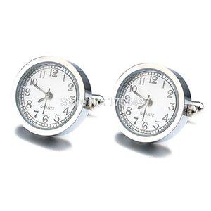 Lepton Functional Watch Manschettenknöpfe für Herren Runde echte Uhr Manschettenknöpfe mit Batterie Digitaluhr Manschettenknopf Manschetten Uhren Gemelos SH190727