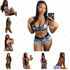 Mulheres Designer Swimsuit 2 Piece Sports Bra e Shorts Swimwear ajustável Sling Bikini Set de banho da Praia Natação Terno S-XL D61515