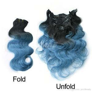 Melhor Cabelo Clip Virgin Brasileiro de Qualidade No clipe onda do corpo 100g Ombre Cor Prata Cinza Verde Vermelho roxo azul em extensões do cabelo