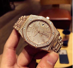 Toptan - Tam manuel ayar elmas 41mm lüks wa toka izlemek katlama TW erkek saatler lüks elmas izle oto mekanik saatler