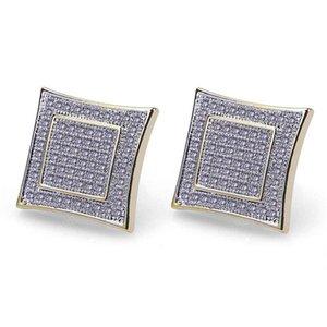 Men Earrings Hip Hop Jewelry Mens Diamond Stud Earings Gold Plated CZ Earrings Charms Men Women