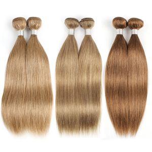 Color 27 Honey Blonde Brazilian Straight Hair 3 4 Bundles Human Hair Weave Brazilian Virgin Hair Straight Extensions Color 8, Color 30