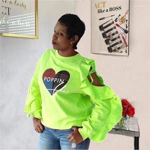 Sleeve Tshirt Falbala Piping scava fuori manica vestiti di modo Poping stampa casuale magliette progettista delle donne lungo