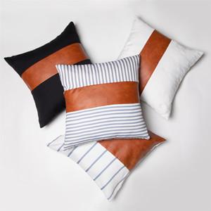 Stripe Fashion PU o un'immagine 18x18Inch pelle morbida tela di Patchwork federa cuscino del divano Cover Casa decorativo o un'immagine DBC VT0890