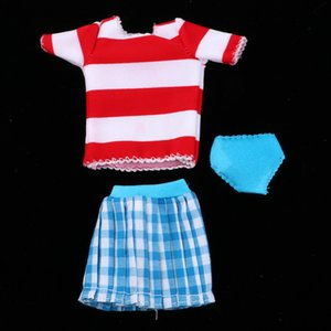 12inch Fashion Dolls Clothes Outfit Set T-shirt Top Tee And Plaid Miniskirt Underpants For Blythe Doll Beach Dress-up Accessories