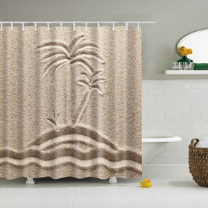 Decorative Oil Painting Printed Bathroom Shower Curtains Frabic Waterproof Polyester Bath Curtain With Hooks 180x180cm Y200511