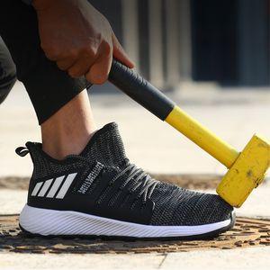 Toe leve aço calçado de segurança Trabalho homens de sapatos Puncture prova indestrutível Sneakers respirável Trabalho Botas Calçado