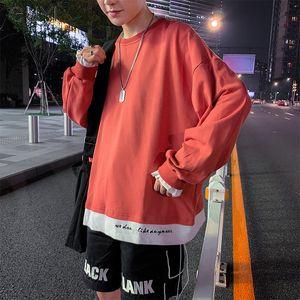 Guyi carta falsa ocasional dos piezas rojo sudaderas con capucha para los hombres otoño de manga larga suéter flojo de manera negro Tops Hip Hop