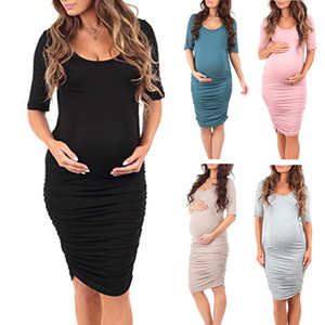 Femme enceinte Couleur ronde manches courtes cou Paquet Fesses vêtements de grossesse femmes robe robes de vêtements de maternité élégant