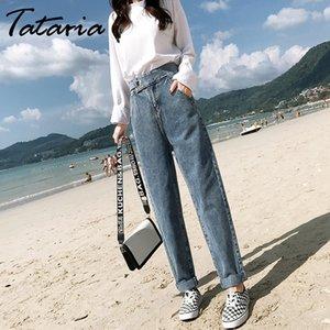 Tataria Vintage с высокой талией гарем джинсы для женщин брюки длиной до щиколотки черные джинсы свободные индивидуальность гарем широкие брюки ноги T200423