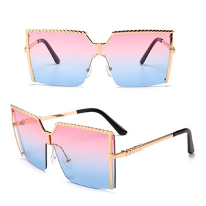 2020 Hot Frameless Conjoined Sunglasses Big Frame Fashionable Shade Ocean One Piece Windproof Sunglasses 7 Colors