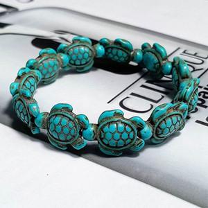 Fashion Style Sea Turtle-Korn-Armbänder für Frauen-Mann Klassischen Naturstein Elastic Freundschaftsarmband Strand Schmuck