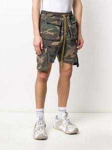 Calças Shorts Vintage Mulheres Homens High Street Média 20ss Verão EUA Newyork Rhude Camouflage Carga Calças Curtas Corda Lavar Jogging Shorts