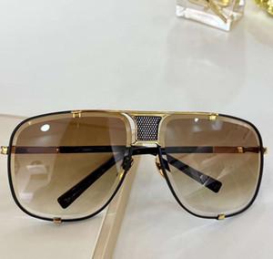 Мужчины 2087 солнцезащитные очки Золото Черный каркас и Brown Gradient Lens Мужская мода квадратные солнцезащитные очки дез люнеты де Солей Новый с коробкой