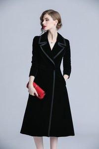 2020 casaco para Brasão longa das mulheres Feminino Windproof Cloaks para o novo casaco de Moda Trench é digna e elegante jaqueta de veludo preto
