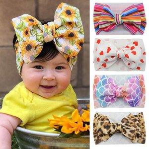 INS Mermaid hair bows baby headbands leopard flower girls designer headbands dots kids headband rainbow baby girl hair accessories B1386