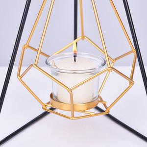 1pcs colgante geométrico del metal del oro de vela de Tealight Holder Con Hierro Negro Soporte Airplant sostenedor de la exhibición moderna DecorationsLK